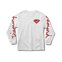Low Life Long Sleeve Tee in White/Red