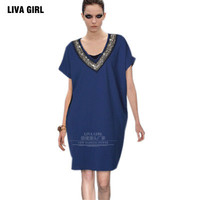 2017 Trending Fashion Extra Plus Size V Neck One Piece Dress Top _ 11344