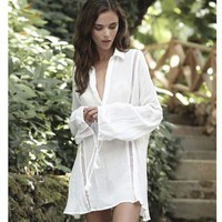 Sexy Swimsuit Beach New Arrival Hot Summer Blouse Cotton Lace Plus Size Vacation Tops Bikini [11601313818]