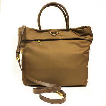Prada BN2531 Corinto Tessuto Saffian Brown Nylon Shopping Tote Bag