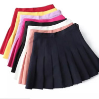 Autumn high waist with thin side zipper tennis skirt pleated skirt with inner lining