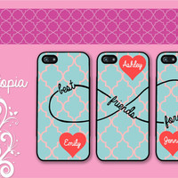 3 iPhone 5/5S, iPhone 5c, iPhone 4 4s, Samsung Galaxy S3 S4 case monogram blue pink quarter foil best friends forever BFF Protective Cases