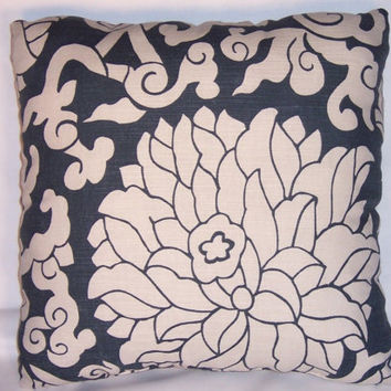 Navy Floral 20 by 20 Kess InHouse Laura Nicholson Passion Flower Throw Pillow