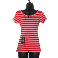 Womens Pink and Red Striped Rockabilly Sailor Girl Pin Up Top Womens Clothing Size Small