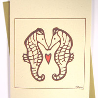 Anniversary Card - Seahorses in Love - Valentine's Day Card, Thinking of You Card, Recycled Illustrated Card (1025)