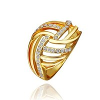 18K Yellow Gold Plated White Swarovski Elements Crystal Crossed Lines Ring, Size 8