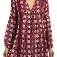 """""""Think Of You"""" Printed Tunic With Crochet Detailing"""