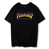 Thrasher Summer Fashion New Bust Flame Letter Print Women Men Top T-Shirt Black