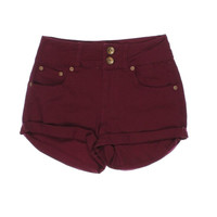 Dollhouse Womens Juniors Twill Cuffed High-Waist Shorts