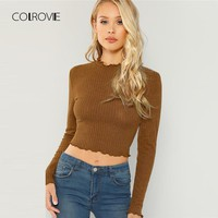COLROVIE Brown Lettuce Trim Girl Crop T Shirt Women 2018 Autumn Korean Style Long Sleeve Tee Sexy Female T-Shirts Women Tops Tee