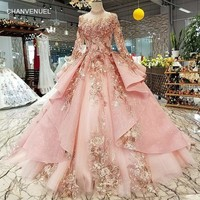 Pink Special Puffy High Neck Long Tulle Sleeve Lace-up Back Evening Formal Dress Gown