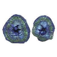 Blue Azurite Green Malachite Crystalline Druzy Nodule Tiny Geode Pair Copper Mineral Specimen from Arizona for your rock and crystal display