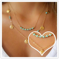 Necklace Statement Stainless Steel Jewelry Locket Necklaces Brand Fashion Necklaces For Women Vintage Turquoise Bohemia Choker Gold Chain