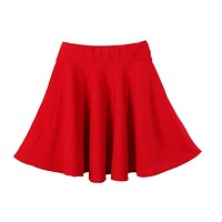 Women Candy Color Casual A-line Flared Mini Circle Short Pleated Women Skirt