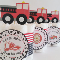 Fireman Baby Shower Center pieces, Firefighter Mini Diaper Cakes, Fire Truck Cake Toppers, Baby Shower Decor