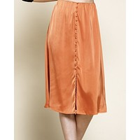 Button Front Satin Skirt