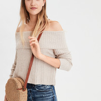 AE Wide Rib Off-The-Shoulder Sweater, Oatmeal