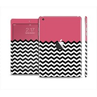 The Solid Pink with Black & White Chevron Pattern Skin Set for the Apple iPad Mini 4