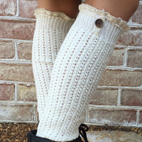 Cable Knit Long Lace Socks With Button Detail