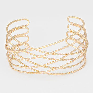 """7"""" textured wire crossed cuff bracelet bangle 1.25"""" wide"""