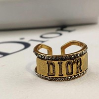 Dior Women's Ring with Diamond Embossed Letters