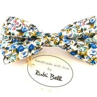 Floral bow tie, wedding tie, blue bow tie, bow ties for men, mens neckwear