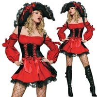 Classic Pirate Cosplay Costume For Woman Halloween Performance Clothing Red Pirate Dress Game Uniforms DS Lead Dancer Costumes