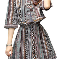 Vintage Geometric Print Two Piece Mini Dress