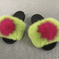 Slime lime green fox fur slides