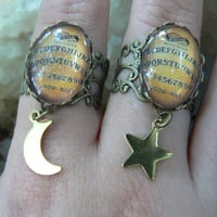 Ouija charm rings PICK a Charm midi  rings knuckle rings Ouija board rings moon rings star rings spirit Goth pagen witch magic boho hipster