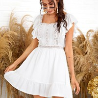 Ruffle Hem Eyelet Embroidered Lace Insert Dress