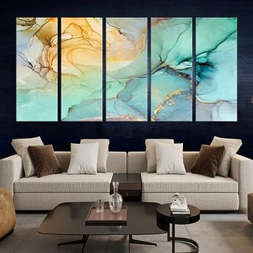 Large Fluid Effect Abstract Wall Art Marble Canvas Print