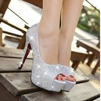 Women's Fashion Ultra Flash Diamond Wedding Shoes Fish Mouth Shoes High-Heeled Shoes White Nightclub Crystal Shoe Single Shoes Bride Shoes = 1930305924