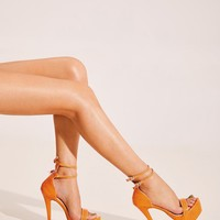 Orange Double Buckle Strap Snakeskin Stiletto Heels