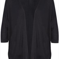 Black 3/4 Sleeve Batwing Knitted Cardigan plus size 16,18,20,22,24,26,28,30,32