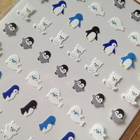 Arctic animal polar bear penguin one point seal sticker mini icon kawaii baby animal diy gift card deco smartphone case diary 2014 scrapbook