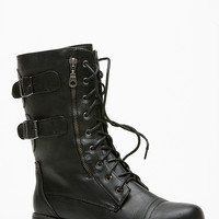 Bamboo Double Buckle Side Zipper Black Combat Boot