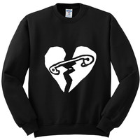 "5 Seconds of Summer 5SOS ""New Broken Scene / Safety-Pin Heart"" Crewneck Sweatshirt"