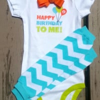 First Birthday Boy Outfit - Baby's First Birthday - Blue Chevron - Bow Tie - Leg Warmers