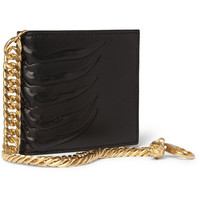 Alexander McQueen - Embossed Leather Billfold Wallet with Gold Chain | MR PORTER