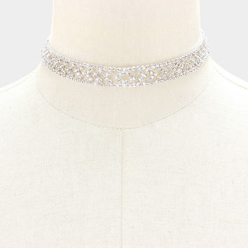 "13"" silver crystal choker bib collar necklace bridal prom pageant .50"" wide"