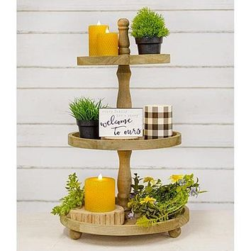 Distressed Wooden Three-Tiered Tray