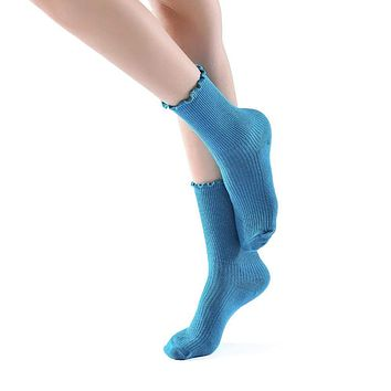Princess Lulu Ruffle Crew Sock | Blue