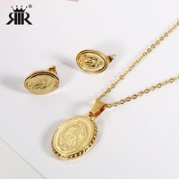 RIR Jesus Christ Stainless Steel pray Jewelry Set Gold Color Jesus Earrings Necklace Jewelry Set For Women Catholicism Religious