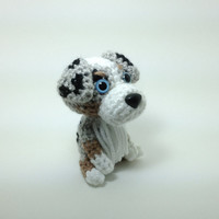 Australian Shepherd Plush Puppy Amigurumi Stuffed Animal Crochet Dog Doll  / Made to Order