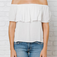 Ruffle Off-The-Shoulder Blouse in White