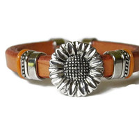 Sunflower leather bracelet brown summer boho chic mothers day teen girl rustic woodland