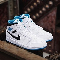 Air Jordan 1 Mid Laser Blue mid-top all-match casual sports shoes