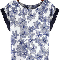 Pleated Sleeve Floral Print Blue Top