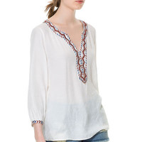 BLOUSE WITH EMBROIDERED NECKLINE - Woman - New this week - ZARA United States